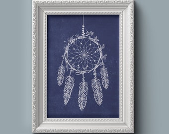 PRINTABLE Dream Catcher Boho Feather Art Print Gifts for Her Shabby Chic Navy Blue Wall Decor