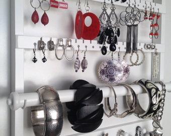 Beautiful White Stained Single Bangle Bracelet Bar, Wall Mounted Jewelry Holder, Earring Organizer, Necklace Display, Oak Hardwood