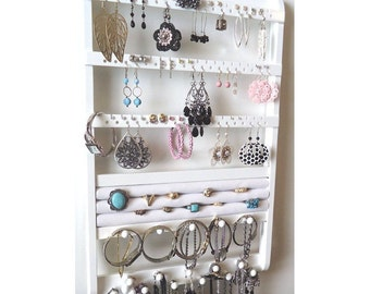 Jewelry Holder Wall Mount, Wood Earring Holder, Necklace Organizer, White Jewelry Rack, Ring Bracelet Rack, Oak Hardwood