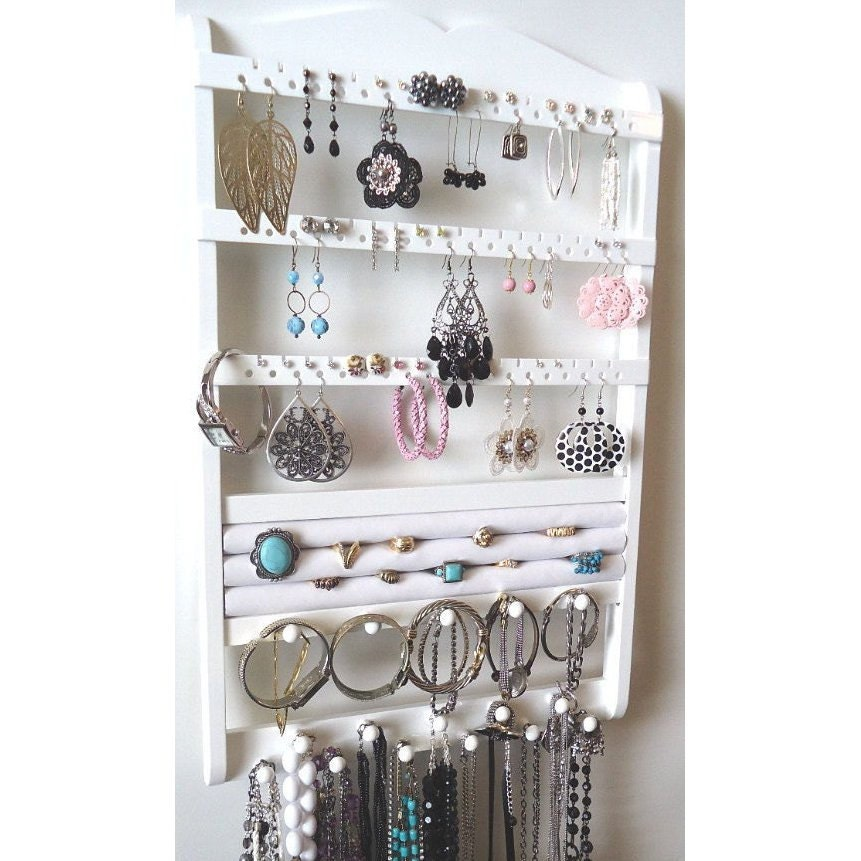 Jewelry Holder Wall Mount Wood Earring Holder Necklace