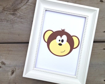 Brown Monkey Print, Childrens Art Print, Kids Room Decor, Nursery Picture, Jungle Animal Art, Wild Animal Poster