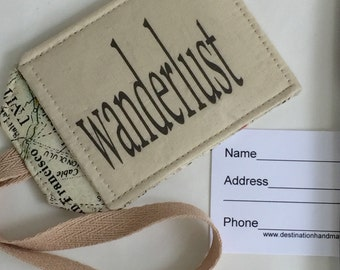 Wanderlust Luggage Tag, Travel Security Identification Accessory