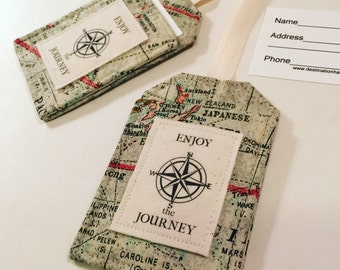 Luggage Tag Set, Enjoy the Journey with Compass, Security Tags, Bag Tags