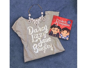 Pride and Prejudice characters t shirt women's made to order sizes S-2XL Darcy Lizzy Jane Bingley Jane Austen
