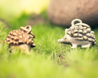 Sweet Little Hedgehog Necklace in Solid Sterling Silver or Bronze!