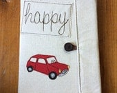 Red Mini Cooper Covered Composition Book with pen, notebook, journal, guest book, cute notebook, applique, free motion sewing