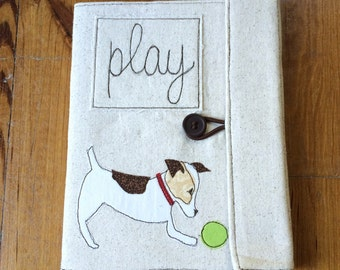 Dog Jack Russell Covered Composition Book with pen, notebook, journal, guest book, cute notebook, applique, free motion sewing