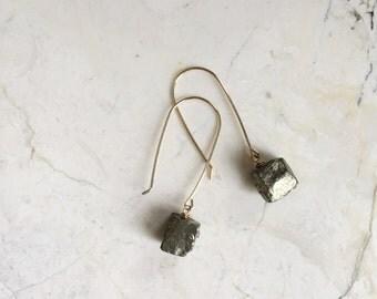 Pyrite Cube Dangles on Gold Filled hooks. Raw Stone Dangles. Mixed Metal Dangles. Modern Earrings. Gift For Her. Simple Earrings.