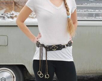 Vintage Leather Boho Chain Belt