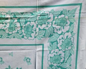 Mint Green Flower Border Table Cloth