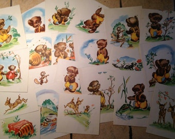 21 Large Clippings from Children's Little Bear and Friends for Paper Crafting