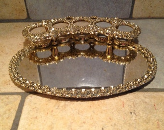 Oval Vanity Tray Mirror With Lipstick Holder