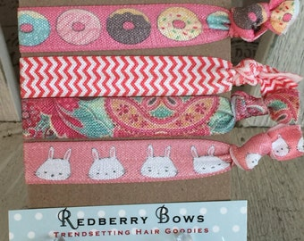 Hair Tie- DONUTS AND BUNNIES- Set of four-Free Shipping with another item