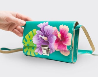 Vintage leather bag 'Tropical Twist', hand-painted by Nina Valkhoff