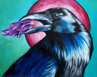 Square painting 'Crystal Crow', oil on canvas, original artwork