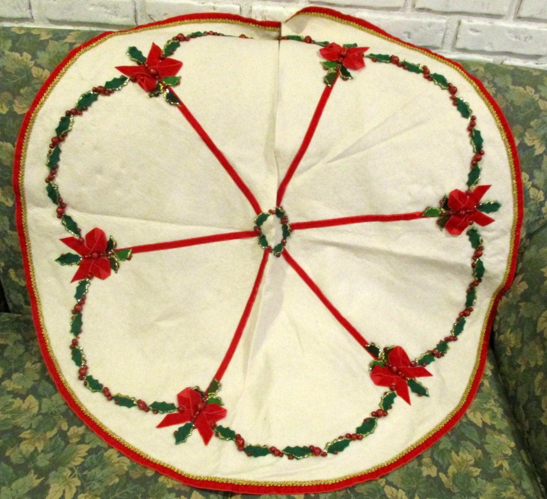 Vintage mid century wool christmas tree skirt holly