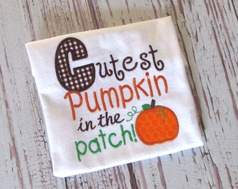 Boys Cutest Pumpkin in the Patch Applique Shirt, Boys Pumpkin Patch Shirt, Fall Shirt, LDM