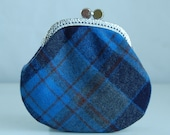 Royal Plaid Coin Purse Change Pouch with Metal Kiss Clasp Lock Frame - READY TO SHIP