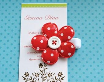 Red Polka Dot Vinyl Flower Clip
