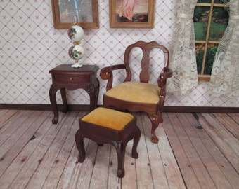 Vintage Dollhouse Furniture - Queen Anne Arm Chair and Foot Stool - Blockhouse - 1/12 Scale