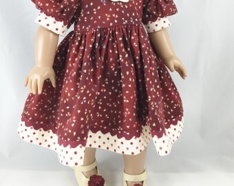 Dress For 18 Inch Dolls Short Sleeved Burgundy Dress With Battenburg Collar Polka Dot Accent Matching Hair Bow