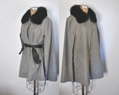 Black Fox Cape / Gray Wool Poncho / wrap sweater jacket / S-L
