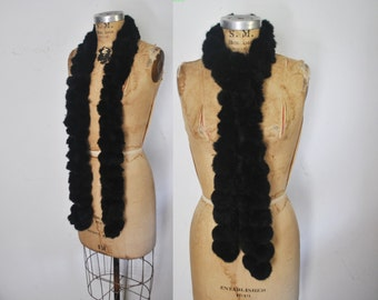 Black RABBIT Fur Collar Boa /  vintage Scarf