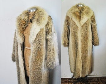 AMAZING Coyote Fur Long Coat / full length jacket / Small