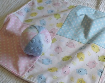Pastel Owl Minky Baby Blankie/Lovey and Jingle Ball Set