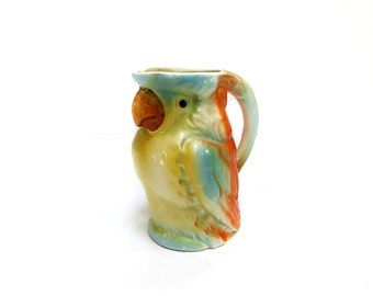 Czech Parrot Creamer 1930s Porcelain Collectible Bird Mini Pitcher