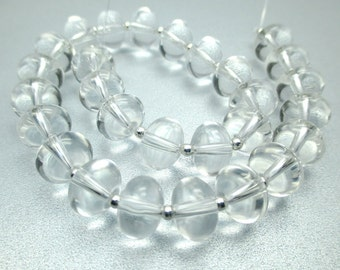 Smooth Crystal Clear Glass Rondelle Lampwork Beads with SS Spacer Beads, 10mm, (31 beads), LOT 840