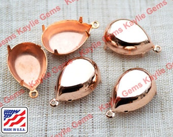 Rose Gold Plated 18x13 Prong Setting Tear Drop Pear Close Closed Back 1 Ring , Made in the USA