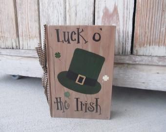 Primitive St. Patrick's Day Leprechaun Derby Hat Hand Painted Vintage Book GCC6132