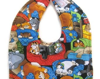 20% Clearance Sale - Lazy Cats Reversible Baby Bib - Sleepy Cats Baby Bib - Lazy Kittens Toddler  Bib - Sleepy Kittens Baby Bib