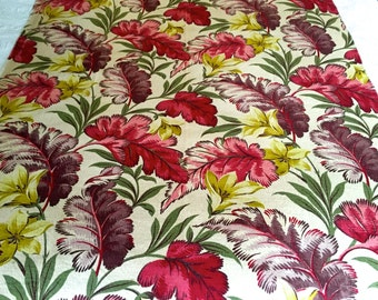 Yellow Lilies and Fabulous Foliage in a  Kaleidoscope of Color// 30s Hollywood Glam Floral Barkcloth// Cotton Yardage// Upholstery Weight