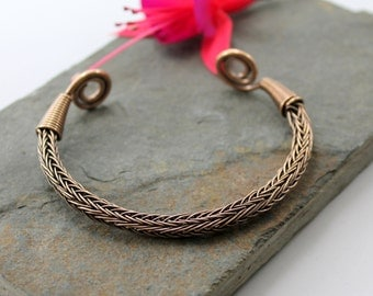 Viking Knit Wrist Torc - Antiqued Bronze - large, Celtic Torq or Torque