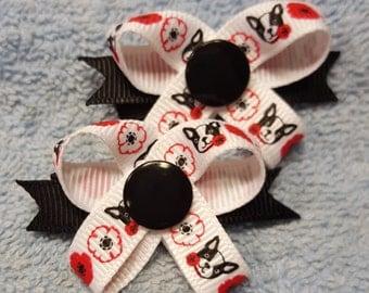 Boston Charm -  Snap N Go Dog Hair Bows - Set of 2 or Custom Single