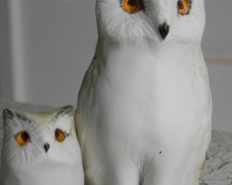 horned owl mom and baby owlet in porcelain