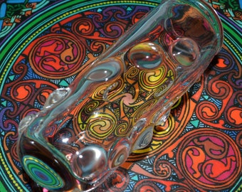 Glass Jar with Trippy Magnifying Dewdrops and Champagne Cork - Handblown