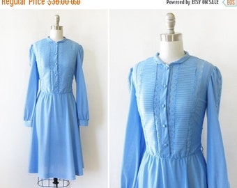 5O% OFF SALE 70s blue dress, vintage 1970s day dress, medium blue lace shirt dress