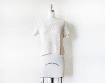 white lace top, vintage 90s floral lace blouse, small lace top