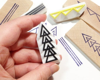 geometric pattern stamps,  arrow line triangle stamp, edge stamp, hand carved rubber stamps, decorating snail mails, gift tags, set of 3