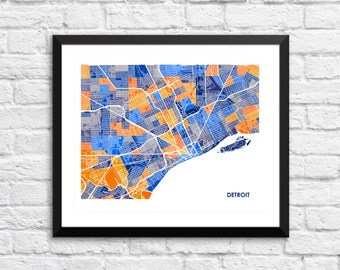 Detroit Michigan Art Map Print.  Color Options and Size Options Available.  Map of Detroit.