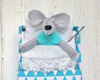 Plush felt miniature stuffed animal mouse geometric decor triangle turquoise aquamarine teen kids room toy for bjd birthday gift best friend