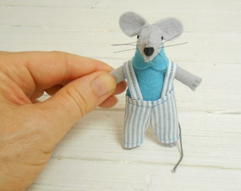 Kids gift tiny stuffed mouse with bed small felt animals stocking felt mouse in a matchbox waldorf doll Christmas kids gift  baby blue