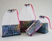 Upcycled Denim and Floral Batik At-A-Glance Knitting/Crochet/Spinning Project Bags Medium/Small & Zippered Accessory