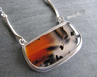 Stunning Montana Agate Necklace in Sterling Silver