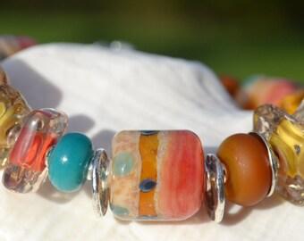 SEDONA-Handmade Lampwork and Sterling Silver Bracelet