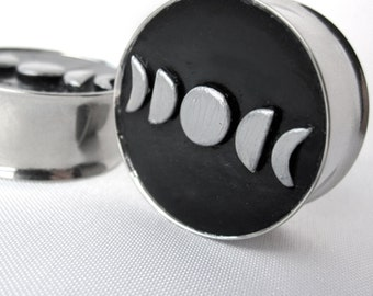 "Pair of Hand-Molded Moon Phase Plugs - Crescent 1/2"", 9/16"", 5/8"", 3/4"", 7/8"", 1"", 28mm, 30mm, 32mm (12mm, 14mm, 16mm, 19mm, 22mm, 25mm)"