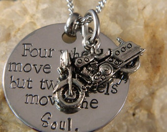 Four Wheels Move the Body, but Two Wheels move the Soul Motorcycle Necklace